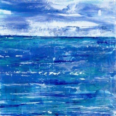 blue waves turquoise horizon painting