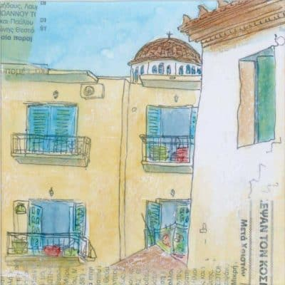 greek villa drawing painting print church roofs