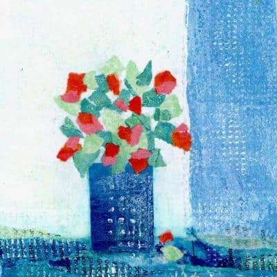 greek village geranium original artwork