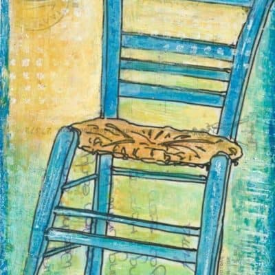 greek taverna chair turquoise art