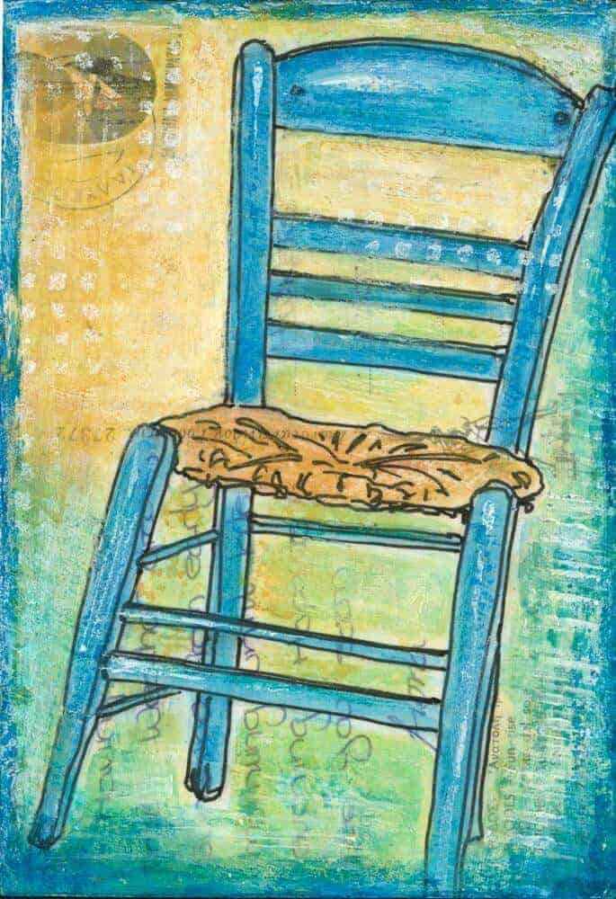 greek taverna chair turquoise art