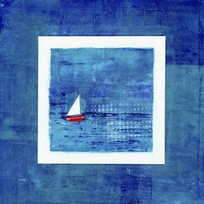 red white sailing boat painting print