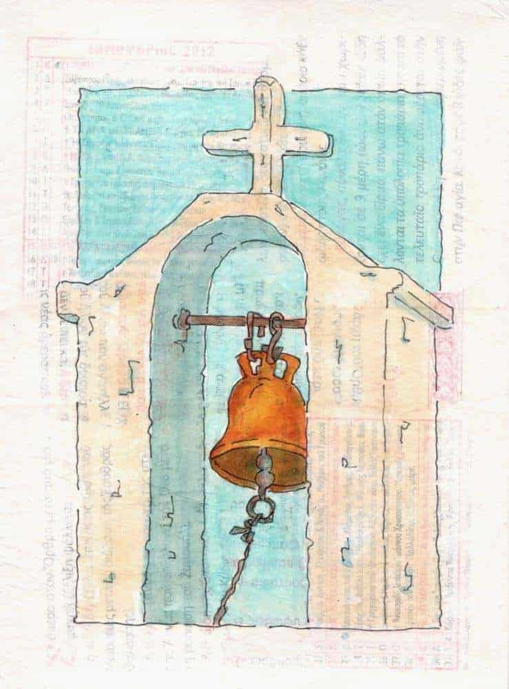 church bell collage greece