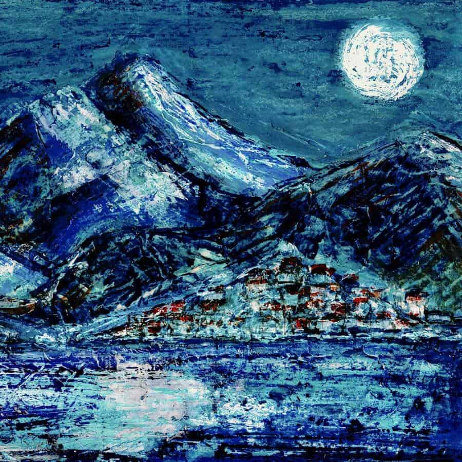 print full moon painting village mountains lake