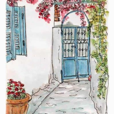 garden gate blue shutters flowers