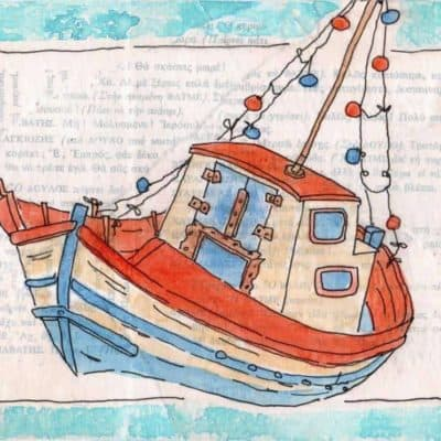 greek fishing boat red blue print