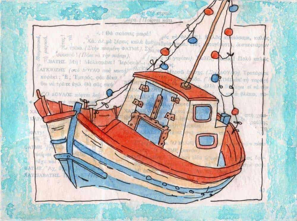 greek fishing boat red blue print