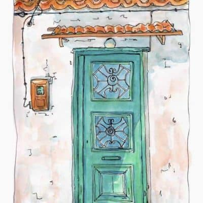 green door terracotta tiles print