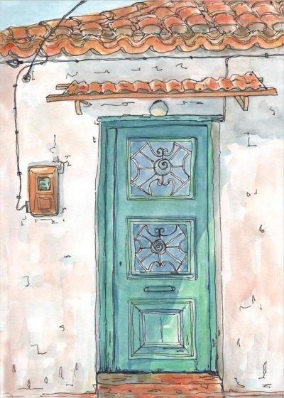 green door village house electricity meter
