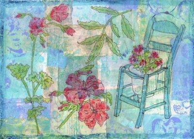 blue collage geraniums garden
