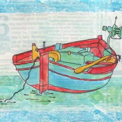 fishing boat collage print