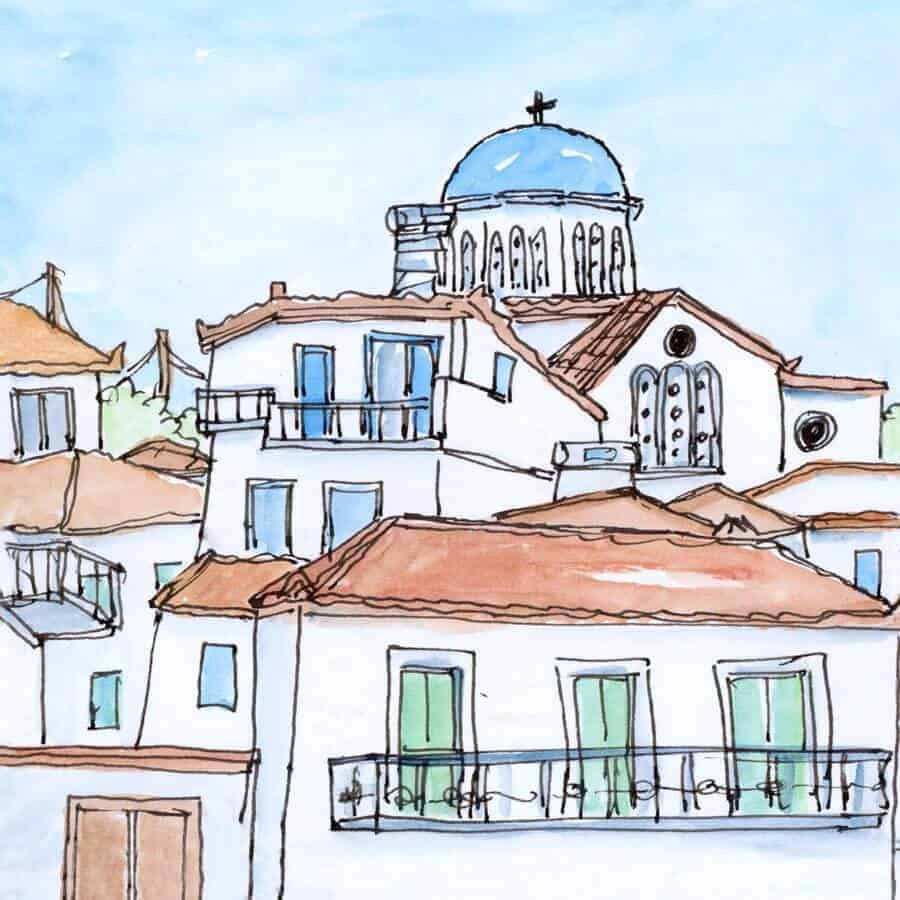 blue dome village rooftops print
