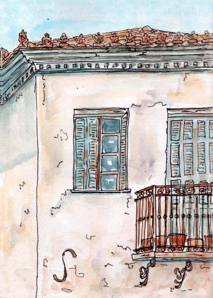 balcony shutters tiles village house print