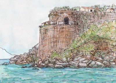 castle drawing painting print koroni