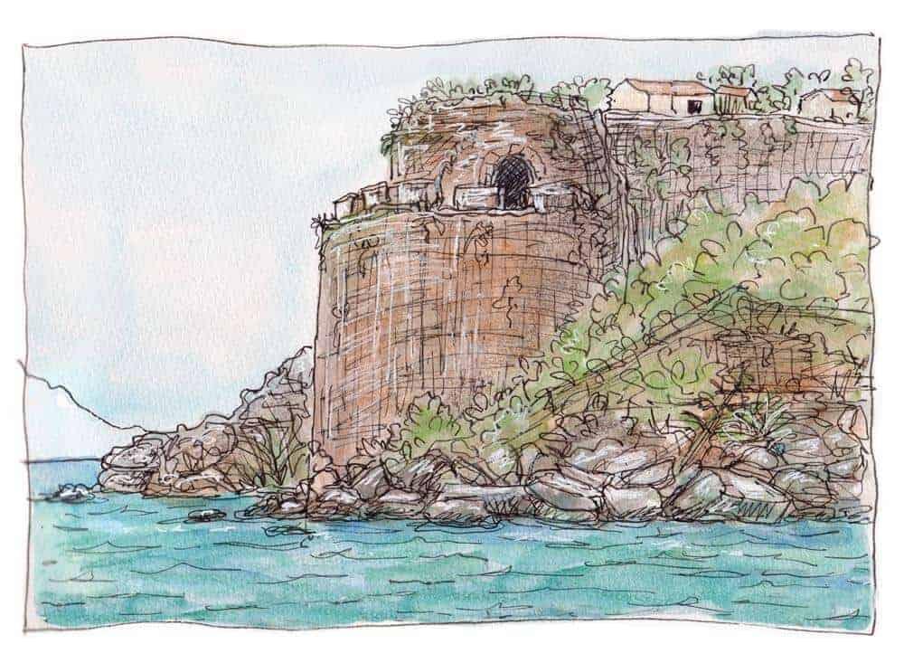 koroni castle print watecolor sketch