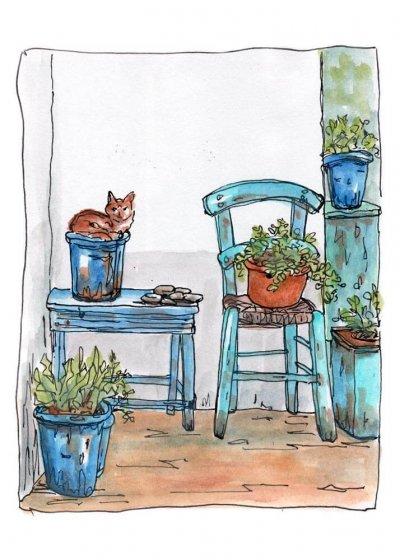 cat blue chair garden print