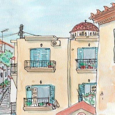 greek village print watercolour church