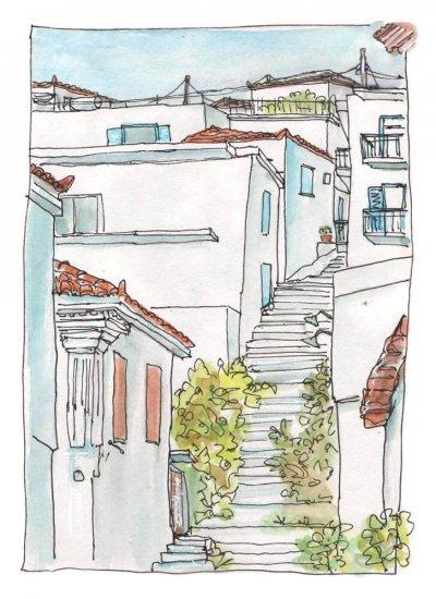 koroni greece watercolour sketch painting