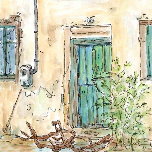 green door windows village house painting