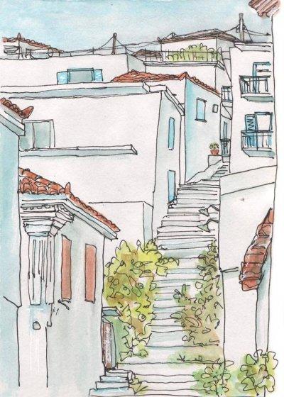 stepped street greek village watercolour