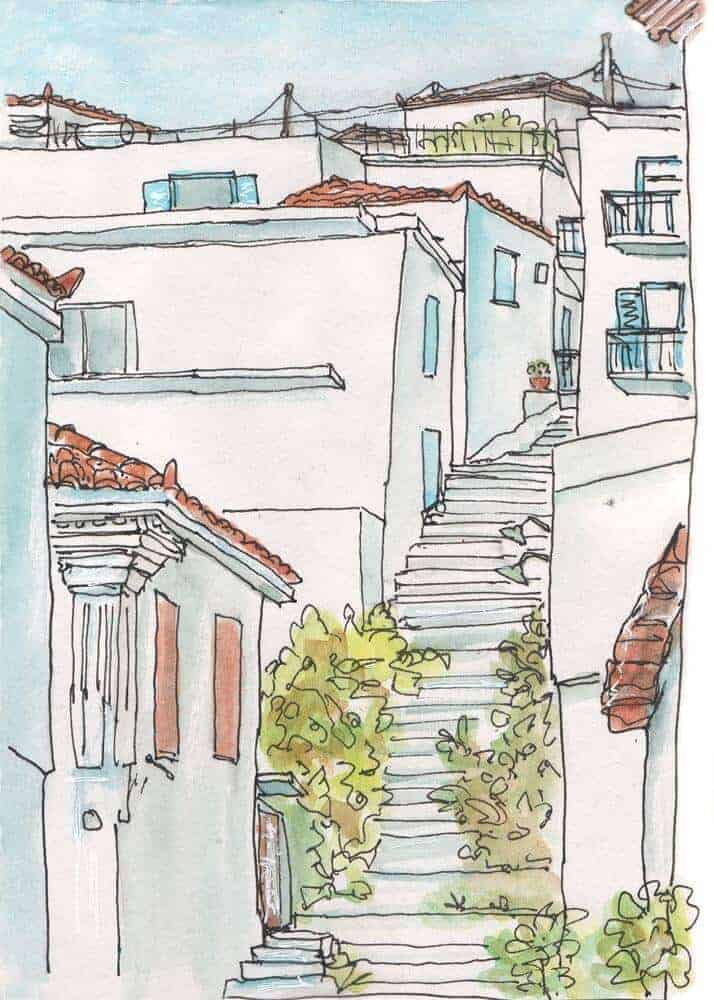 stepped street greek village watercolour