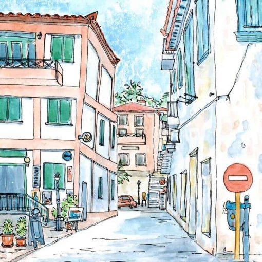 canvas print greek village streets cafe