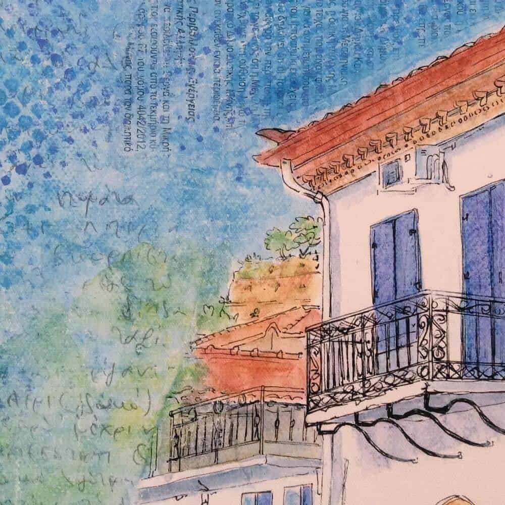 giclee, canvas, print, village, house, greece, blue, gilltomlinson, art