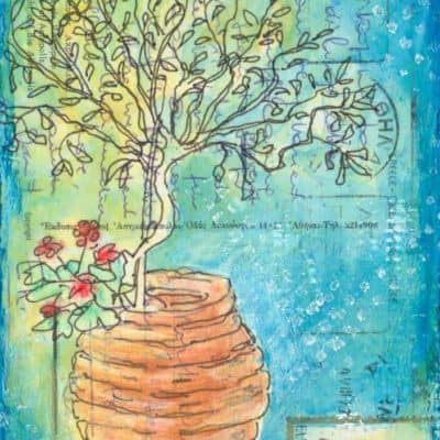 olive tree in pot postcrd painting Greece