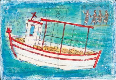 fishing boat Greece postcard painting