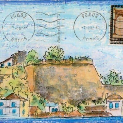Castle walls Greek village altered postcard painting