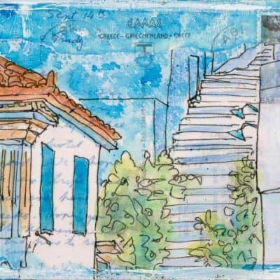 Greek village steps on postcard painting