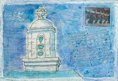 church turret Greek monastery painting on postcard
