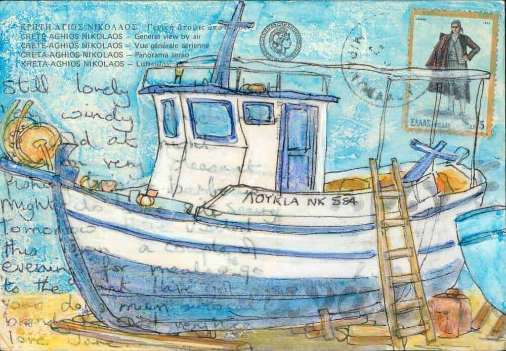 fishing boat painting Greece