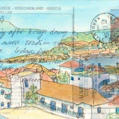 Greec harbour village altered postcard painting