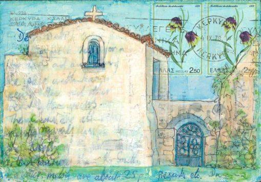 Greek chapel postcard art