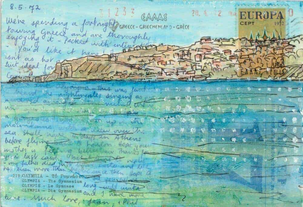 sea coastal painting on Greek postcard