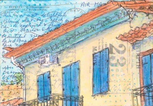 postcard art Greek village house