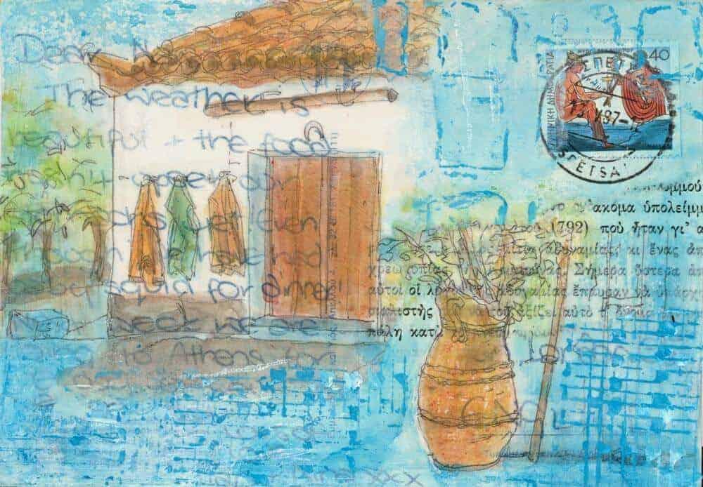 Greek postcard art three jackets