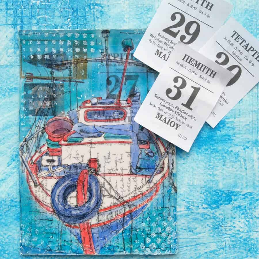 Greek fishing boat painting on postcard from Greece