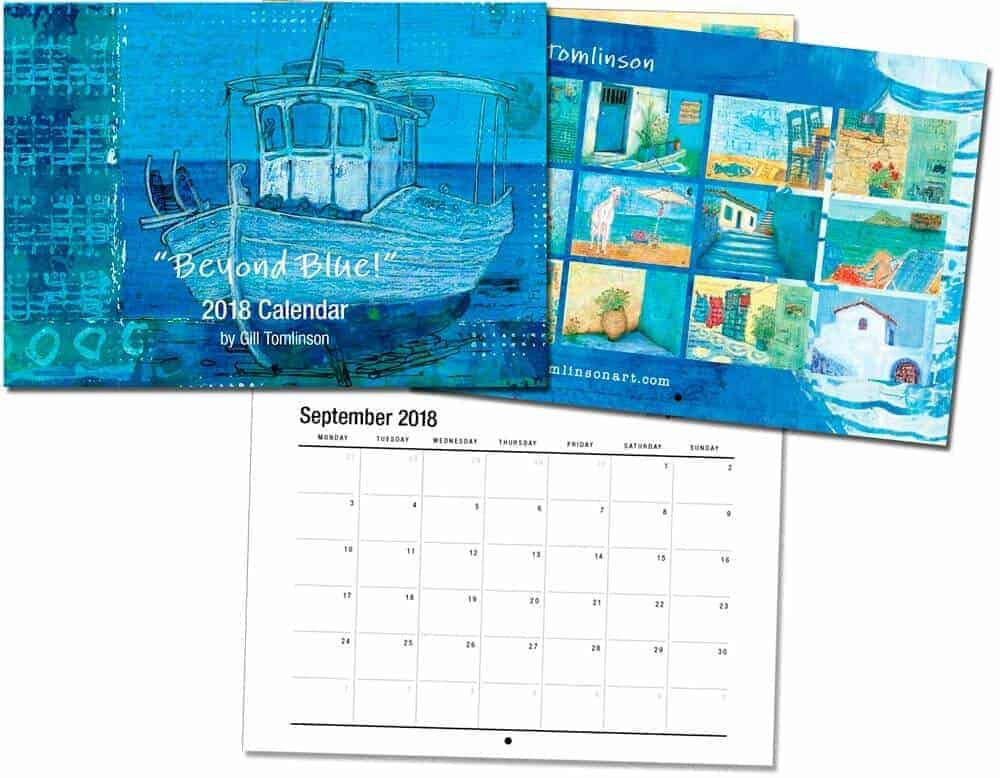 2018 art calendar by English Artist Gill Tomlinson twelve full colour images of colourful paintings inspired by Greece