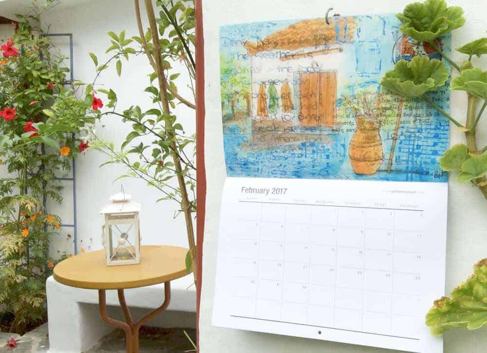 greek, garden, calendar, art, postcards, gill-tomlinson, artist