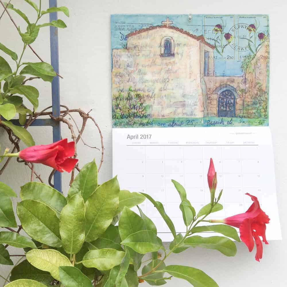 2017, art, calendar, gill-tomlinson, art, greece, postcards