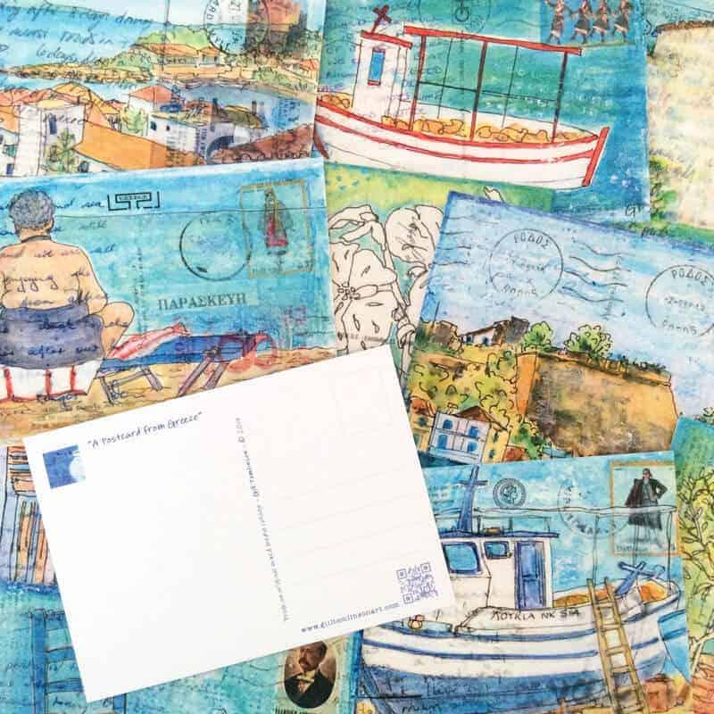 postcards, art, greece, gill, tomlinson, artist
