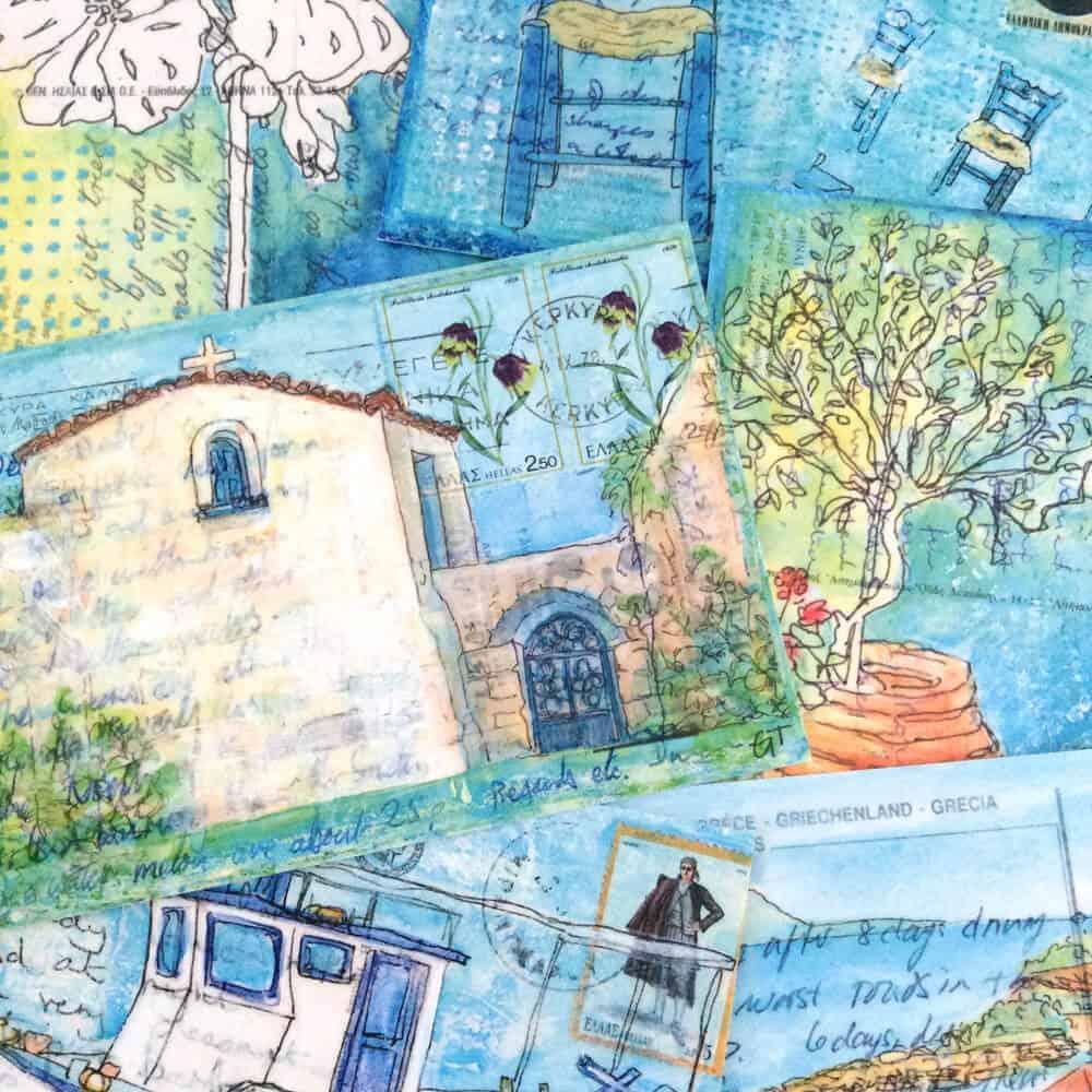 Greece postcard paintings art crds