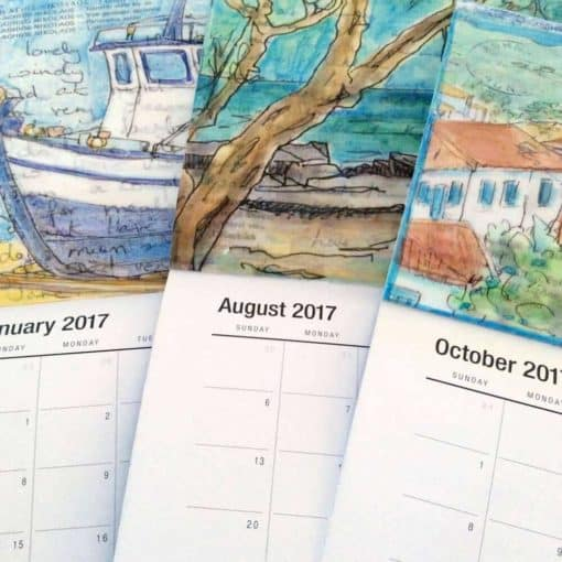 Greece art calendar pages paintings