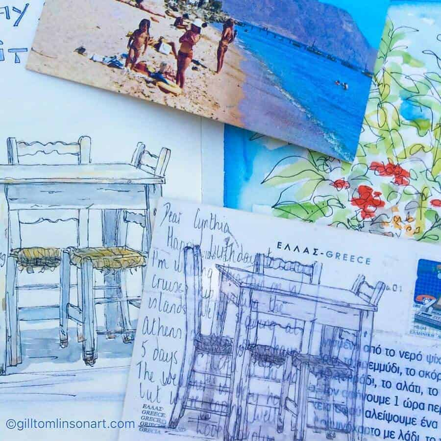 vintage,postcards,greece,art,gill,tomlinson,artist