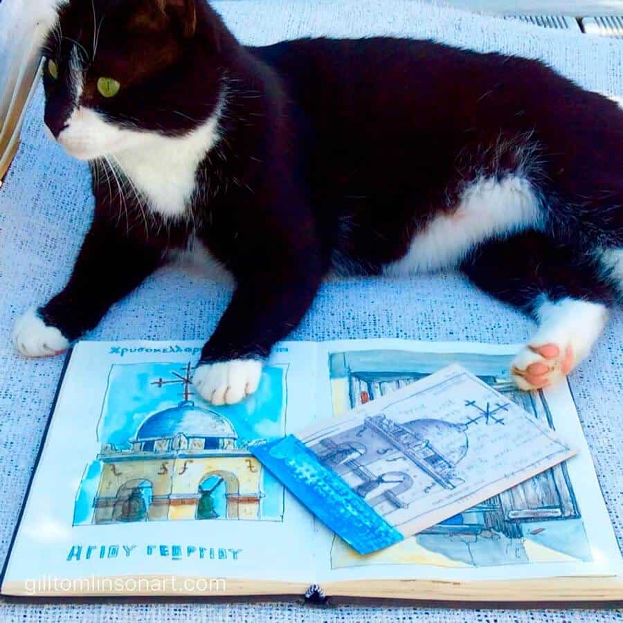 cats,greece,art,artist,drawing,sketchbooks