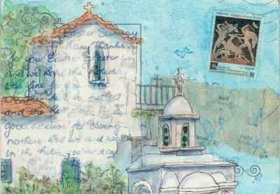 Chapel painting Greece postcard art