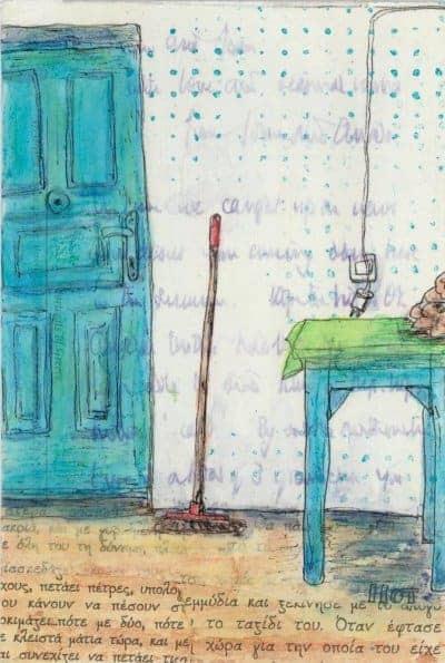 blue door table postcard art