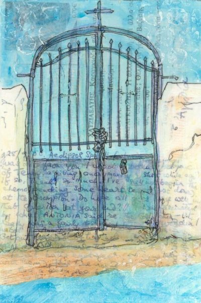 Monastery gate painting on vintage postcard Greece